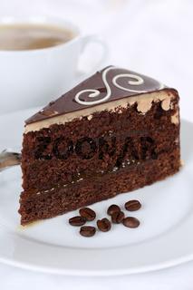 Kaffee und frischer Kuchen Schokolade Torte Nachtisch, Dessert