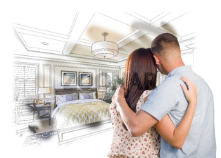 Military Couple Looking Over Custom Bedroom Design Drawing Photo Combination