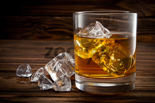Closeup of glass with ice and whiskey