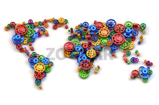 Map of the world from gears. Global economy connections and international  business concept.