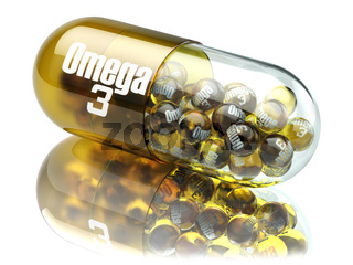 Pill with Omega 3  element. Dietary supplements. Vitamin capsules.