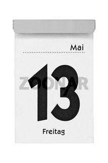 Kalenderblatt Freitag 13. Mai isoliert