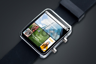 close up of smart watch with news pages on screen