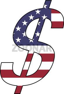Dollar mit amerikanischer Fahne