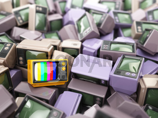 Heap of vintage tv. End of television. Conceptual background.