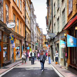 Shopping street in Stockholm