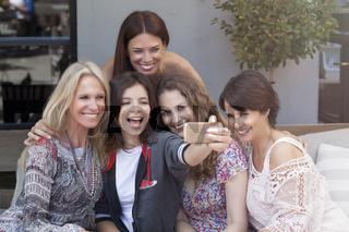Female Friends Taking Selfie Outdoors