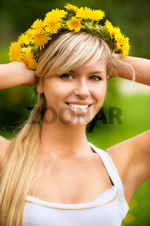 Young woman in wreath