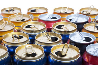 Empty beer aluminum cans