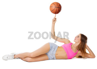 Young girl with basketball ball isolated