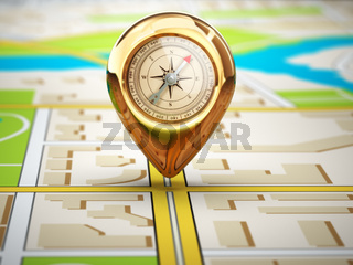 Navigation concept. Pin with compass on the city map.