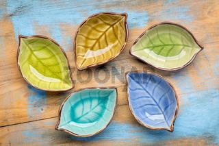 empty ceramic side dish bowls