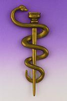 Briefoeffner in Form des Aeskulapstabes mit einer um den Stab geschlungenen Aeskulapnatter