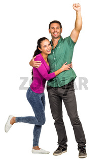 Happy couple rejoicing