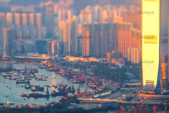 Hong Kong skyline aerial view at sunset. Tilt shift