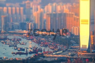 Hong Kong skyline aerial view at sunset. Tilt shift