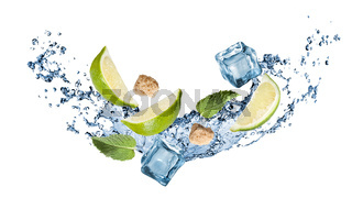 ingredients of mohito cocktail with water splash