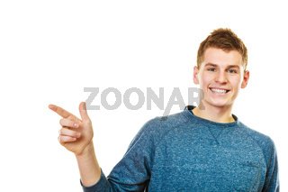 man showing copy space pointing with finger