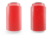 Set red aluminum cans, wet with drops and without, isolated on white background.