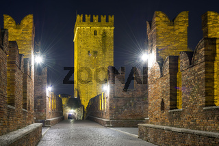 Nightview of Castelvecchio Bridge in Verona