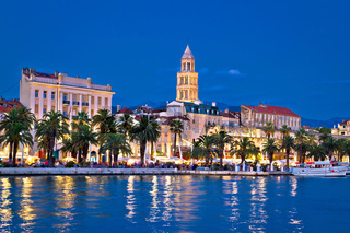 Colorful split waterfront evening view