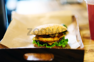 Cheeseburger on sesame buns