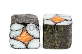 Simple sake maki sushi, two rolls isolated on white