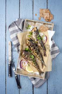 Barbecue Sardine on Tray