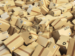 Warehouse or delivery concept background.Heap of cardboard delivery boxes or parcels.