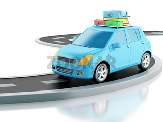 3d car with travel suitcases