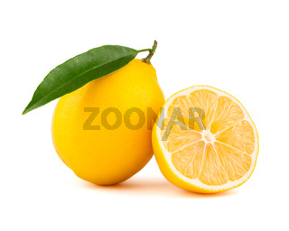 Yellow lemon with slice isolated