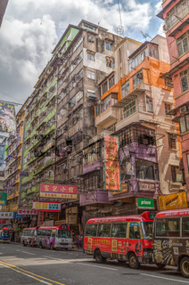 Old apartment buildings in Kowloon