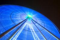 Giant spinning blue wheel