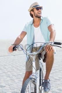 Handsome man on a bike ride