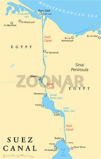 Suez Kanal politische Landkarte
