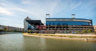 MADRID JULY 1, 2014: Vicente Calderon stadium, home of Atletico de madrid. In Madrid, Spain on July 1, 2014.