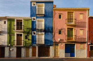 Villajoyosa multicolored three houses, Spain