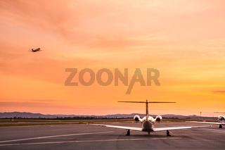 Airplane at sunset