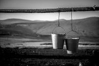 Rural Hanging metal buckets