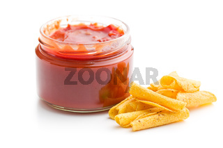 rolled nacho chips and salsa dip