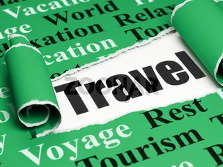 Tourism concept: black text Travel under the piece of  torn paper