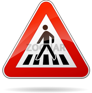 pedestrian crossing warning sign