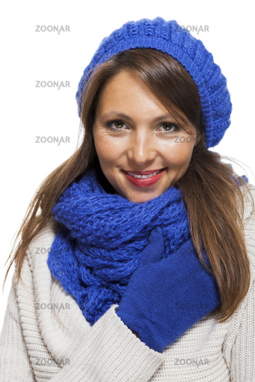 Close up Smiling Woman in Winter Outfit