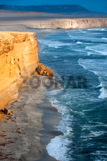 Peruvian Coastline, Rock formations at the coast, Paracas National Reserve, Paracas, Ica Region, Peru.
