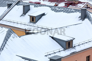 roofs covered with snow