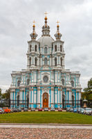 Russia, St. Petersburg. Smolny Cathedral (Church of the Resurrection)