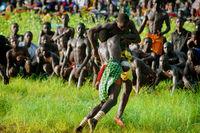 SENEGAL - SEPTEMBER 19: Men in the traditional struggle (wrestle) of Senegal, September 19, 2007 in Casamance, Senegal