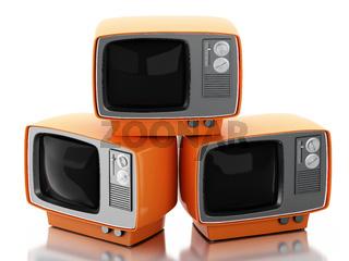 3d Stack of retro tv set.