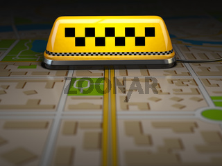 Taxi sign on the city map. Concept of taxi online service. Space for text.