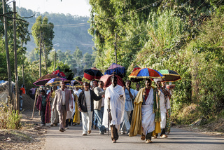 african christian orthodox funeral procession in gondar rural ethiopia